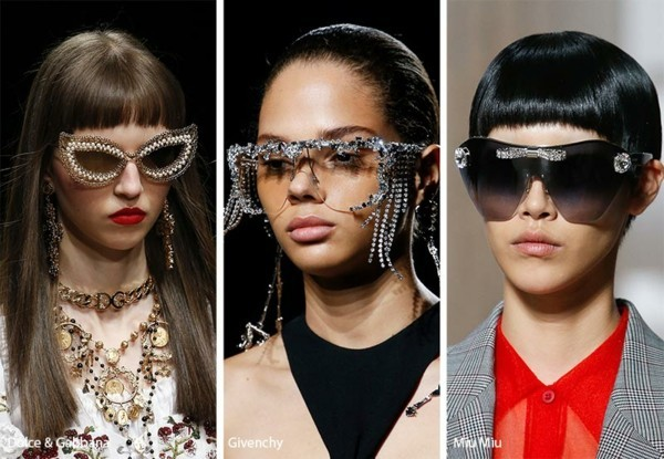 Designer Sonnenbrillen Trends Frühling Sommer 2019 Glitzer Trend