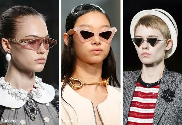Designer Sonnenbrillen Trends Frühling Sommer 2019 dreieckige Gläser Sonnenbrillen