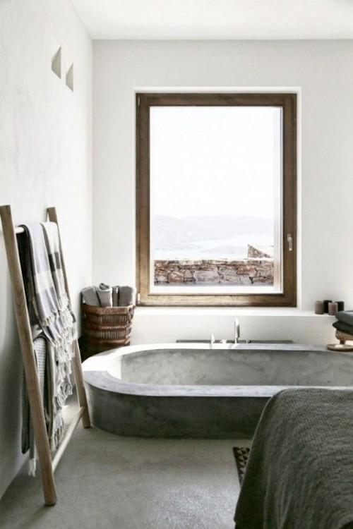 Eingelassene Badewanne in Betonoptik Industrial Style