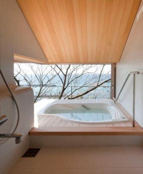 Eingelassene Badewanne unregelmäßige Form als Whirlpool fungieren schönes Baddesign