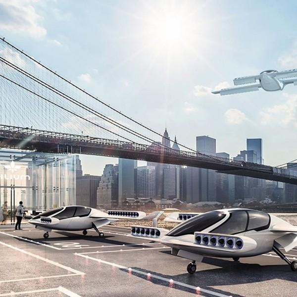 Erstes Flugtaxi vom deutschen Unternehmen Lilium im Test die speziellen landeplätze
