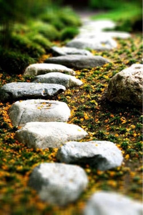 Gartenwege aus Stein große grobe Steine als Pfad angelegt