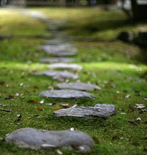 Gartenwege aus Stein großformatige Steinplatten mit Gras kombiniert
