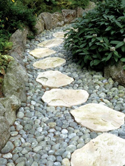 Gartenwege aus Stein weiße großformatige Steinplatten mit Kies kombiniert