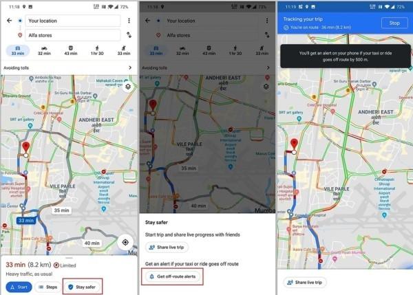 Google Maps warnt Sie, wenn Ihr Taxifahrer von der Route abweicht google navigation mit taxi stay safer