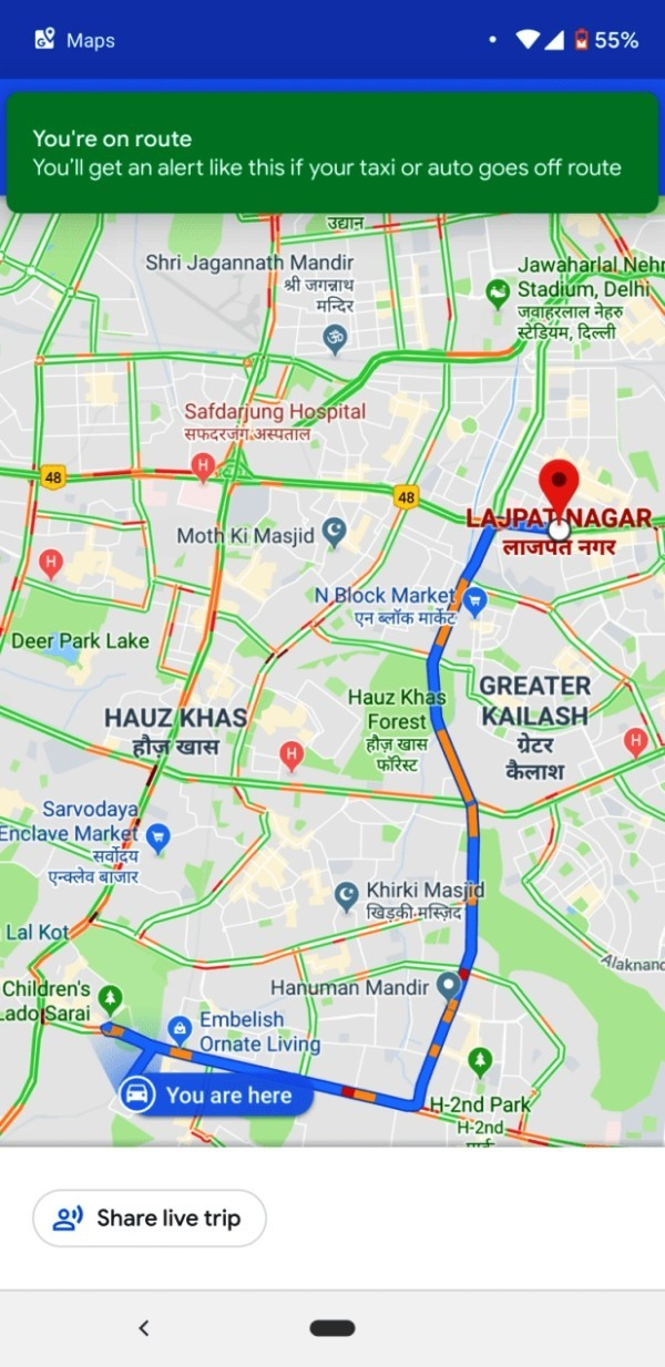 Google Maps warnt Sie, wenn Ihr Taxifahrer von der Route abweicht nachverfolgung der route