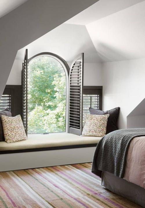 Halbkreisfenster gewölbte Zimmerdurchgänge vielfältige individuelle Gestaltungsmöglichkeiten Rollos Jalousien Plissees