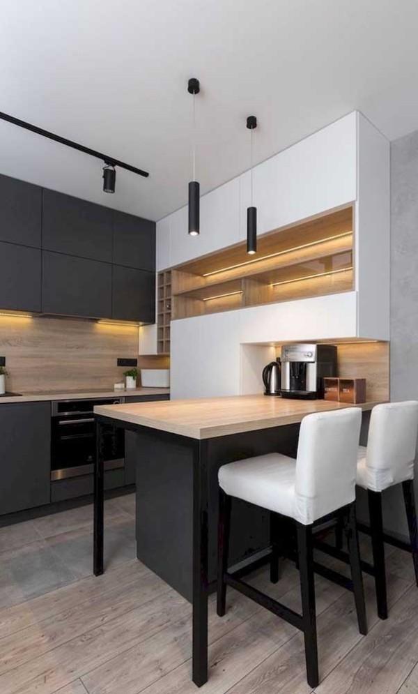 Küchentisch und zugleich Kücheninsel in Schwarz und Braun