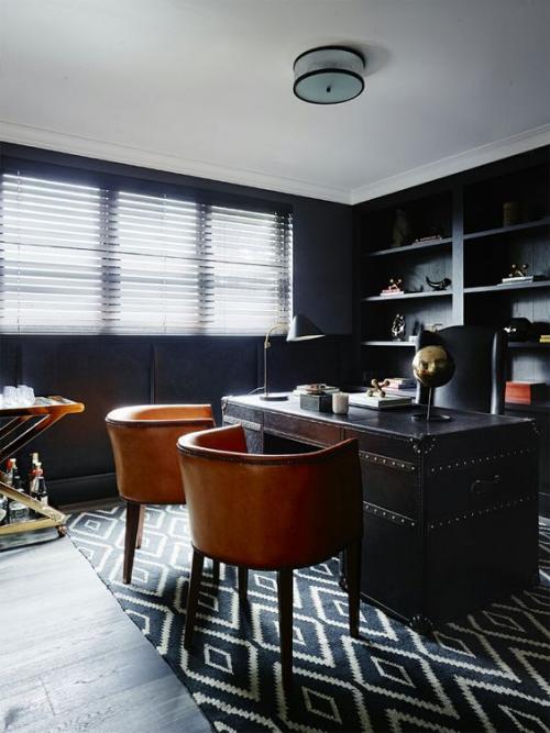 Maskulines Homeoffice klassische Eleganz Schreibtisch aus dunklem Holz zwei Ledersessel Goldakzente