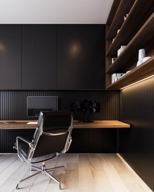 Maskulines Homeoffice minimalistisch eingerichtet Farbkontraste hell dunkel