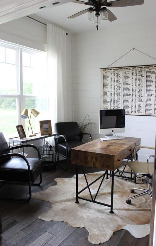 Maskulines Homeoffice weiße Wände helles Wildtierfell auf dem Boden Retro Schreibtisch zwei schwarze Sessel