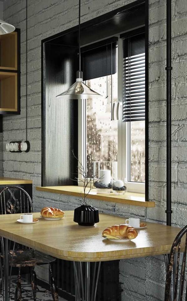 Raum mit Ziegeln Küchentische