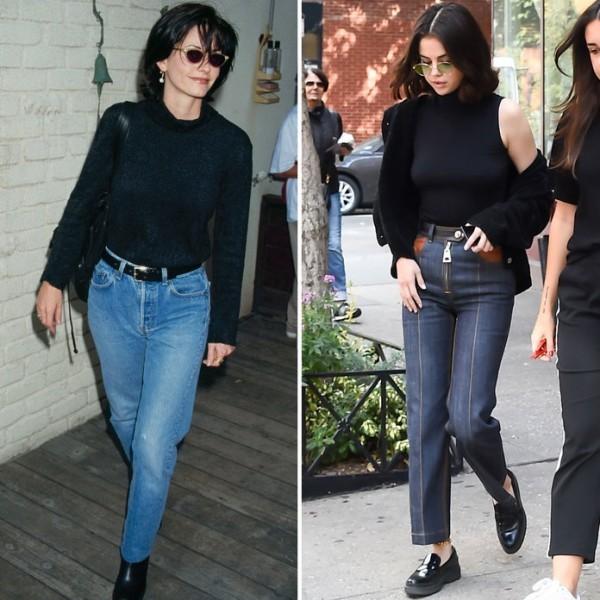 Selena Gomez jeans und schwarzes oberteil
