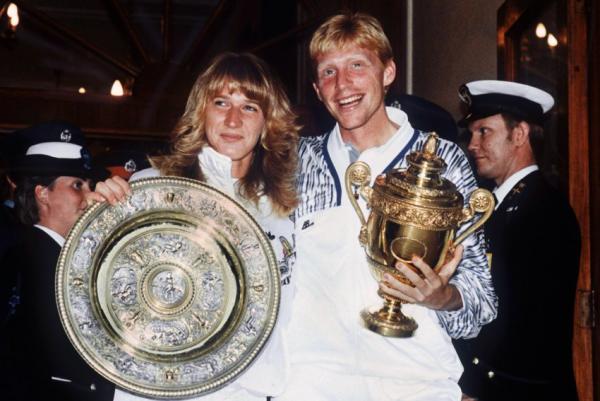 Steffi Graf 50.Geburtstag 1989 zusammen mit Boris Becker im Finale von Wimbledon