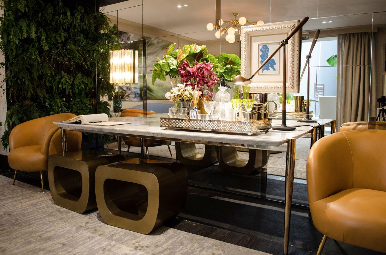 Tisch mit tollen runden Formen Grüne Wandgestaltung