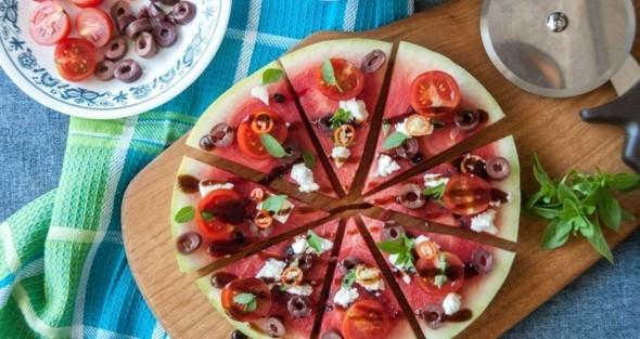 Wassermelone gesund Wassermelone Pizza Sommer Imbiss Ideen Fingerfood