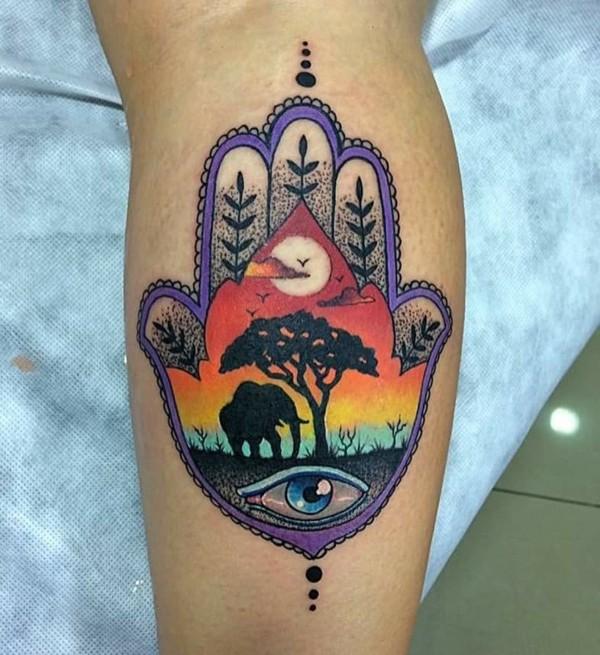 afrika elefant hamsa tattoo