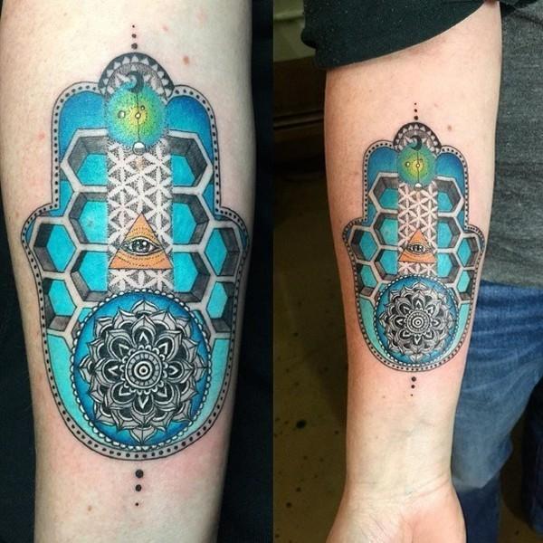 buntes hamsa tattoo 3d