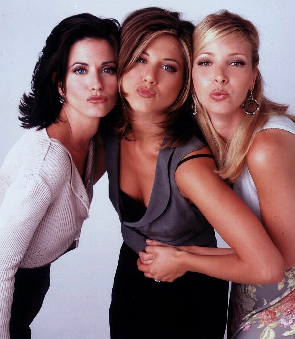 Courteney Cox, Jennifer Aniston and Lisa Kudrow from TV show 'Friends'.