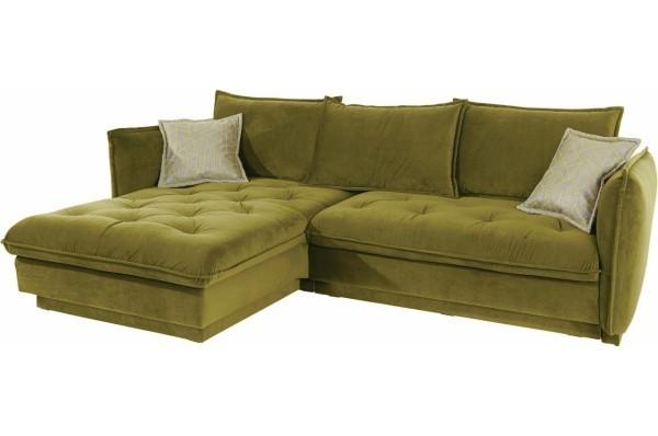 eckcouch in einer modernen gruenen Farbe