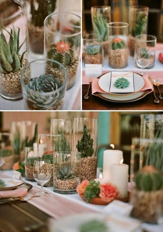 kaktus sommerliche tischdeko ideen
