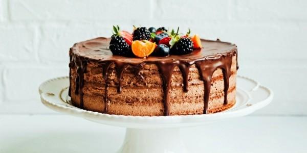 somerlicher kuchen mit brombeeren und schokolade
