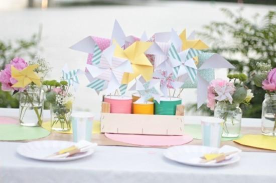 sommerliche tischdeko ideen aus papier selber machen