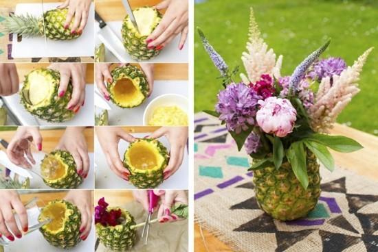 sommerliche tischdeko ideen mit ananas und blumen