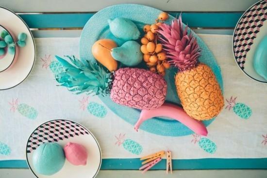 sommerliche tischdeko ideen mit exotischen früchten