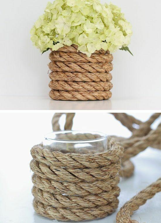 sommerliche tischdeko ideen mit hortensien und seil