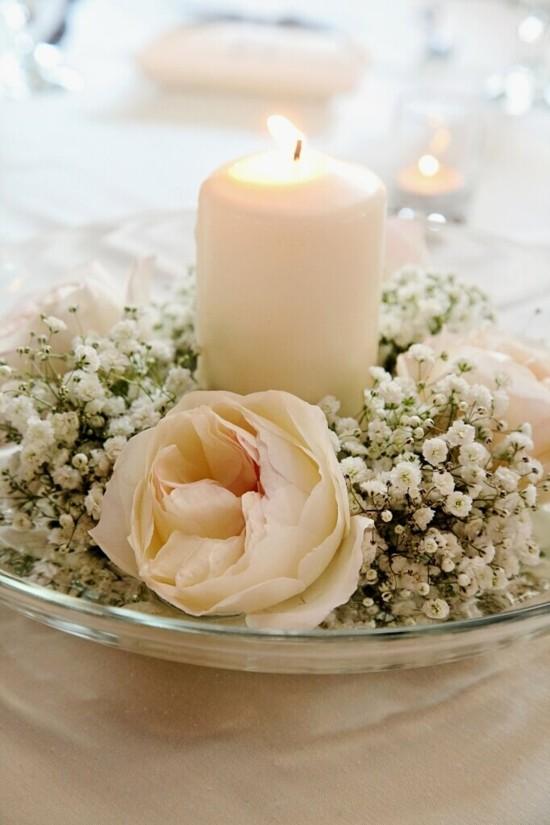sommerliche tischdeko ideen mit rose und schleierkraut