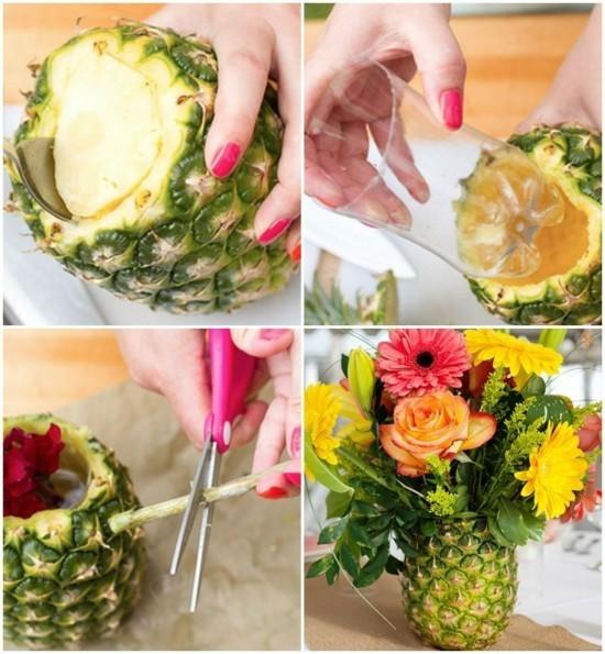 sommerliche tischdeko mit ananas selber machen