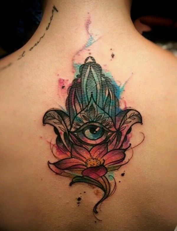 wasserlilie wasserfarben hamsa tattoo