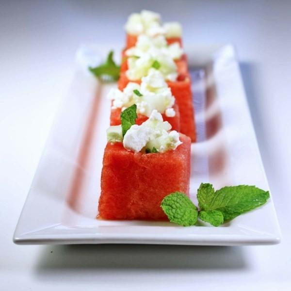 wassermelone rezepte häppchen mit feta