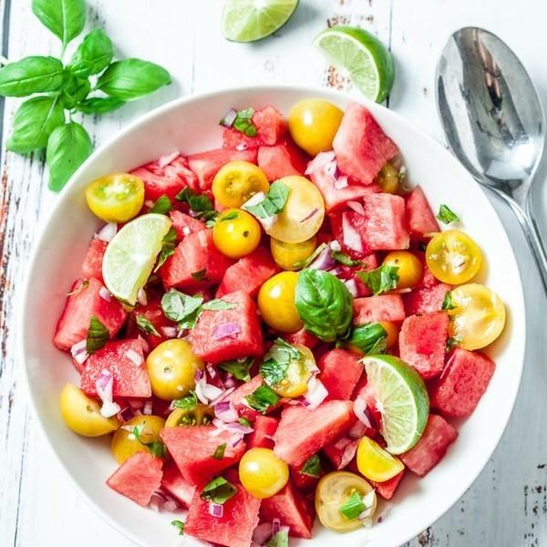 wassermelone rezepte salat mit gelben tomaten
