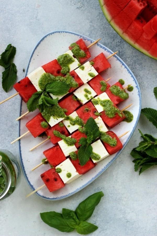 wassermelone rezepte spieße mit feta und pesto