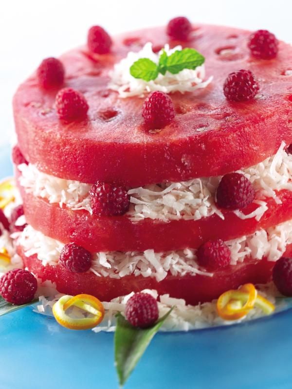 wassermelone rezepte torte mit kokosnüssen