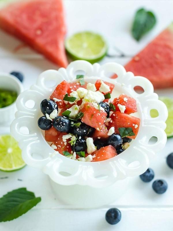 wassermelonen feta salat mit blaubeeren