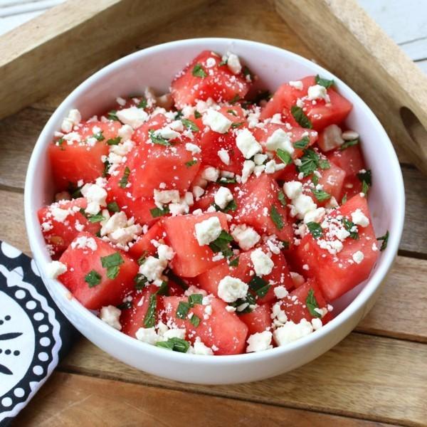 wassermelonen feta salat mit minze