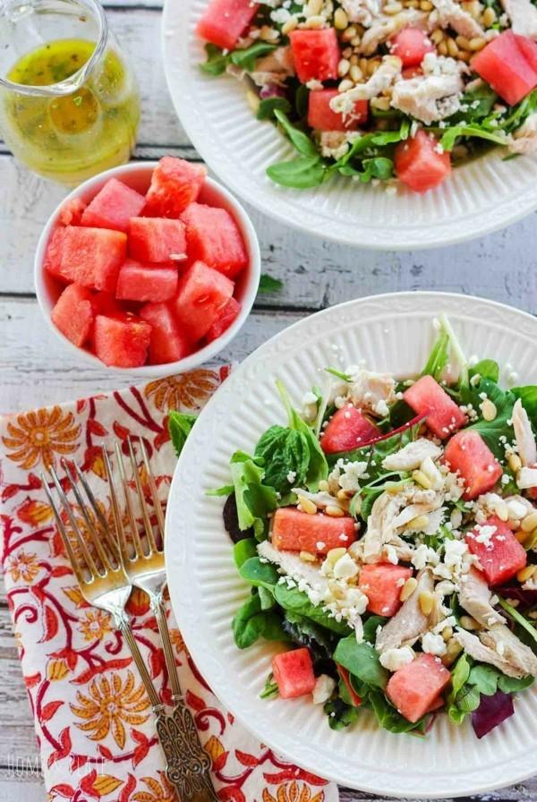 wassermelonen feta salat mit pinienkernen
