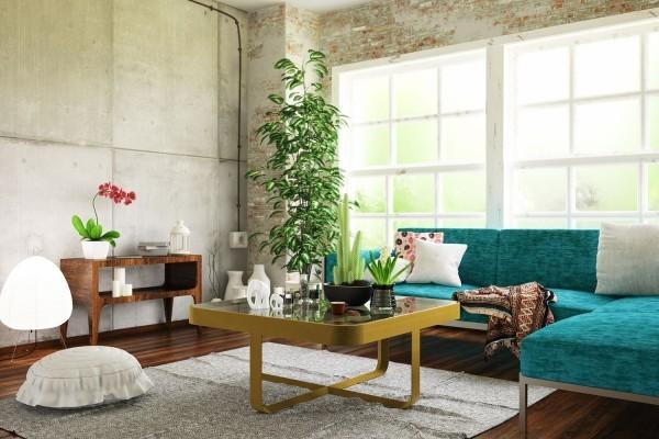 wohnideen mit betonwänden und pflanzen