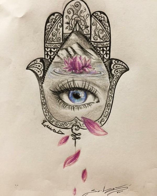 wunderschöne vorlage für hamsa tattoo mit lotus und auge