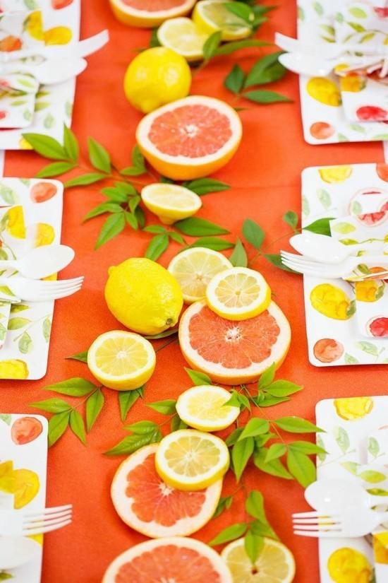 zitronen orangen sommerliche tischdeko ideen