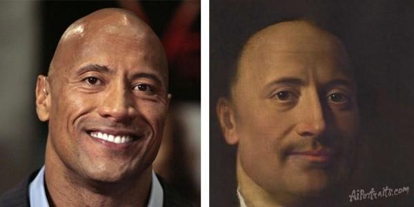 AI Portraits verwandelt Ihr Selfie in ein Renaissance Porträt dwayne johnson the rock