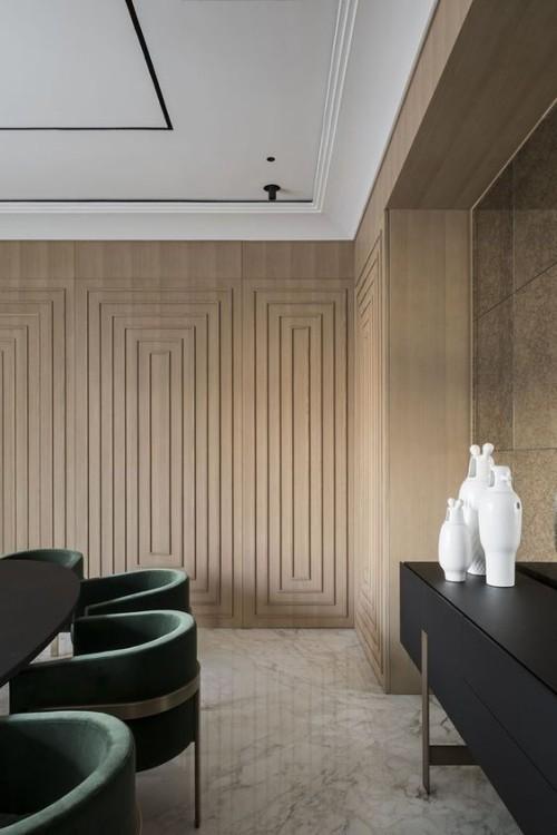 Akzentwand moderne Wandgestaltung 3D Paneele Holz modernes Ambiente