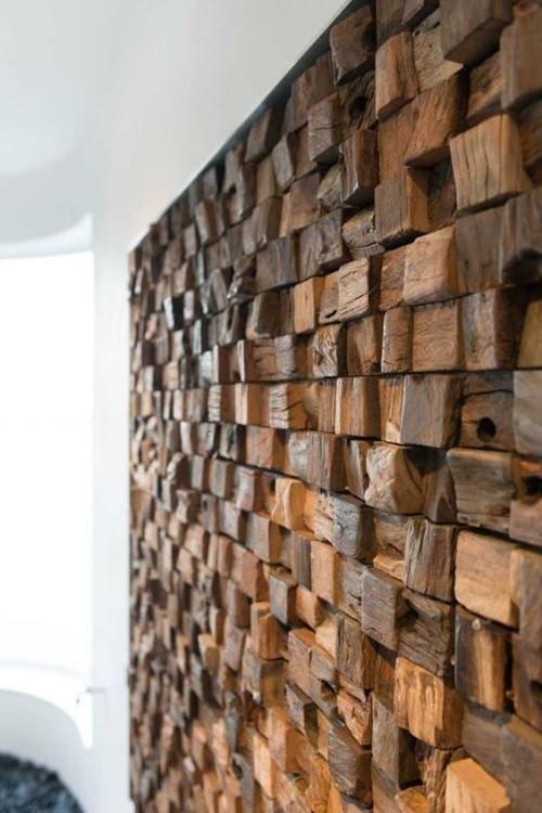 Akzentwand moderne Wandgestaltung Holzwand aus der Nähe betrachtet