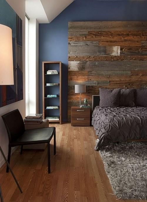 Akzentwand moderne Wandgestaltung Schlafzimmer Holz