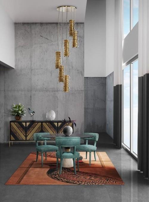 Akzentwand moderne Wandgestaltung Wohnzimmer im Industrial Style Betonwand ein Blickfang