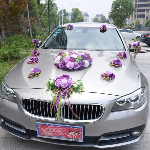 Autoschmuck Hochzeit - Grau und ila