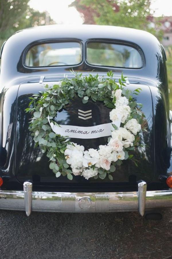 Autoschmuck Hochzeit Hinterseite